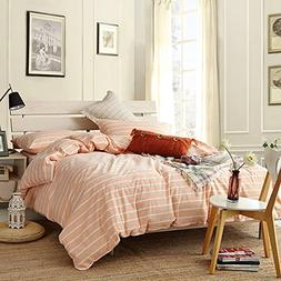 ON SALE Pink Striped Reversible Queen Duvet Cover Set Lighwe