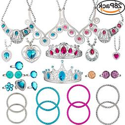 BeYumi 28 Pcs Princess Jewelry Dress-Up Accessories Toy Set