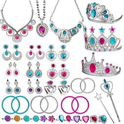 WATINC 46Pack Princess Pretend Jewelry Toy,Girl's Jewelry