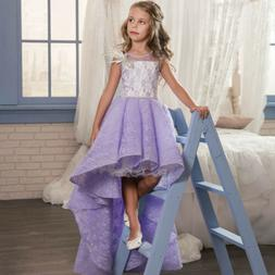 Purple Lace Wedding Flower Girls Gowns High low Beaded Littl