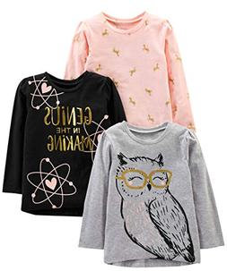 Simple Joys by Carter's Girls' Toddler 3-Pack Graphic Long-S