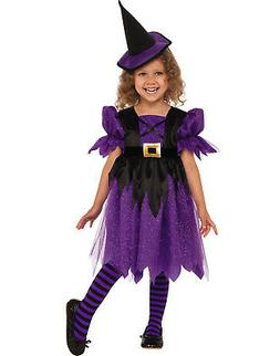 Sweet Witch Girl Child Purple Little Sorceress Halloween Cos
