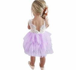 Toddler Baby Flower Girls Princess Tulle Dress Lace Backless
