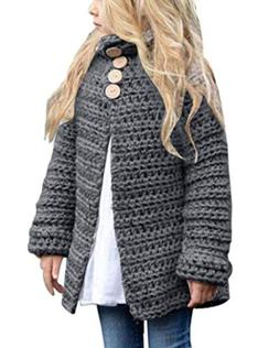 Toddler Baby Girls Autumn Winter Clothes Button Knitted Swea