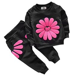 Toddler Baby Girls Sunflower Clothes Set Long Sleeve Top and