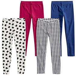 Spotted Zebra Toddler Girls' 4-Pack Leggings, Meow, 3T