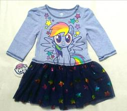 My Little Pony Toddler Girls L/S Dress Blue Rainbow Dash NWT