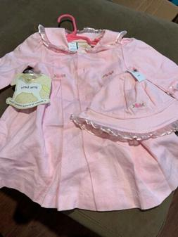 Toddler Girls Little Bitty Pink Matching Dress & Coat w/ Tri