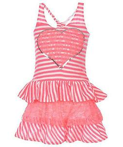 Kidzone Girls Toddler/Little Girls Pink Striped Dress Size 2