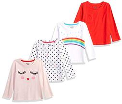 Spotted Zebra Toddler Girls' 4-Pack Long-Sleeve T-Shirts, Ra