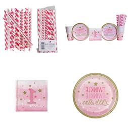 Twinkle Little Star 1St Birthday Girl Party Supplies Pack Fo
