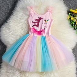 Unicorn Baby Little Girls Dresses Toddler Princess Costume T