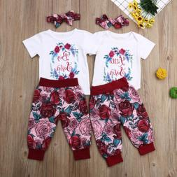 US Big/Little Sister Matching Set Baby Girls Tops Romper Pan