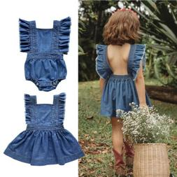 US Infant Toddler Baby Girl Denim Tutu Clothes Romper Bodysu