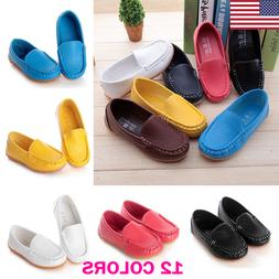 US Kid Boys Girls Soft Loafers Oxford Flats Casual PU Boat S