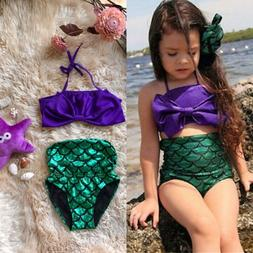 US Kids Girls Little Mermaid Bikini Swimsuit Swimwear Bathin