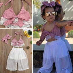 US Little Baby Girls Clothes Summer Strap Crop Tops+Pants 2P