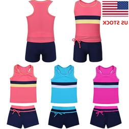 US Little Girls' Kids Summer Two Piece Boyshort Tops Tankini