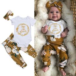 US Newborn Baby Girl Little Sister Tops Romper Flower Pants