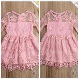 US Summer Kids Toddler Baby Girls Lace A-line Dress Tulle Li