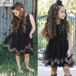 USA Girls Black Princess Dress Kids Baby Party Pageant Lace