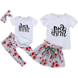 USA Kid Baby Girls Big/Little Sister Romper Pants T-shirt Dr