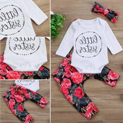 USA Newborn Baby Girls Little Sister Bodysuit Tops Floral Pa