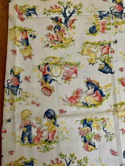 Vintage Fabric Little Girls Playing With Puppies Yellow Cott