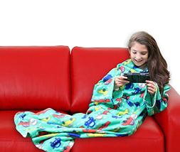 DG SPORTS Wearable Fleece Blanket for Kids with Sleeves and