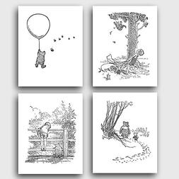 "Winnie the Pooh Black and White NurseryArt  ""Winnie's Adven"