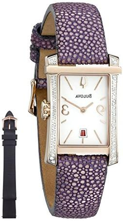 Ladies' Bulova Winslow Rectangle Diamond Bezel Rose Gold-Ton