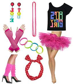 Women 80s Party Girl T-Shirt Costume with Tutu Skirt
