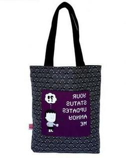 "ANGRY LITTLE GIRLS ""YOUR STATUS UPDATES ANNOY ME"" TOTE GROCE"